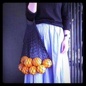 Handbags - Black french net grocery produce bag crochet